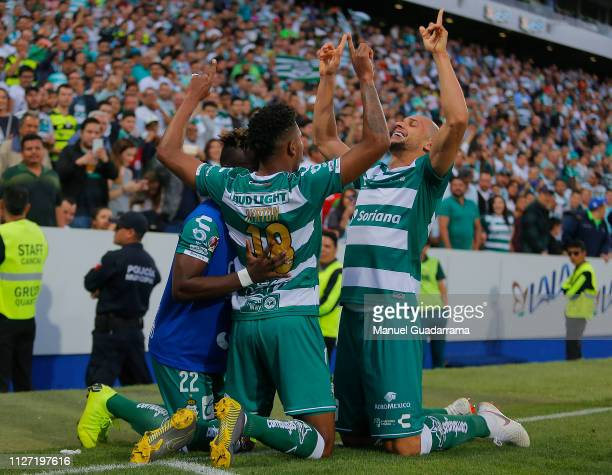 Ayrton Preciado of Santos celebrates with teammates after scoring the second goal of his team during the 8th round match between Santos Laguna and...