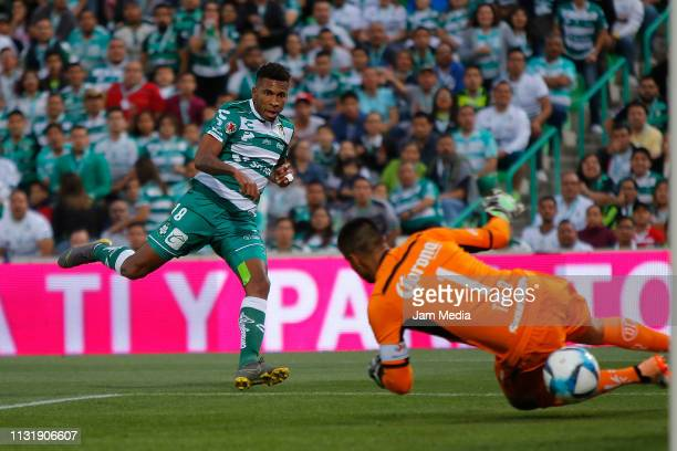 Ayrton Preciado of Santos kicks the ball to score the second goal of his team during the 8th round match between Santos Laguna and Toluca as part of...