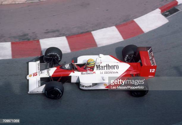 Ayrton Senna (1960-19940 of Brazil in action, driving a McLaren MP4/4 with a Honda RA168E 1.5 V6t engine for Team Honda Marlboro McLaren, during the...