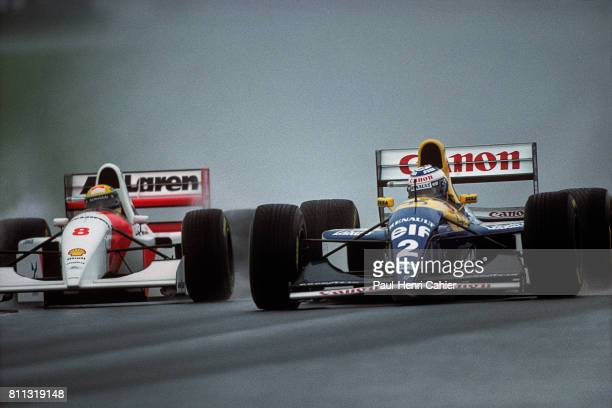Ayrton Senna Alain Prost McLarenFord MP4/8 WilliamsRenault FW15C Grand Prix of Europe Donington Park 11 April 1993
