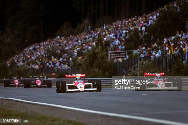 Ayrton Senna Alain Prost McLarenHonda MP4/4 Grand Prix of Belgium Circuit de SpaFrancorchamps 28 August 1988 Ayrton Senna and Alain Prost fighting...