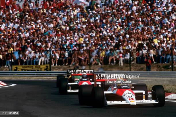 Ayrton Senna, Alain Prost, McLaren-Honda MP4/4, Grand Prix of Hungary, Hungaroring, 07 August 1988.