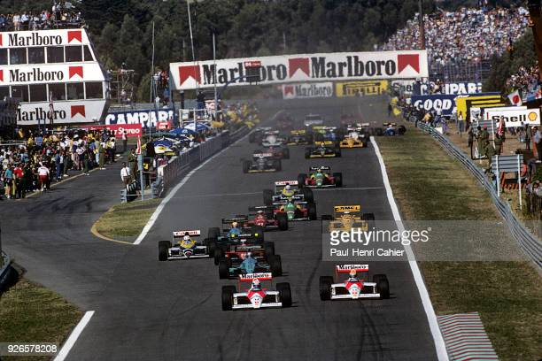 Ayrton Senna, Alain Prost, McLaren-Honda MP4/4, Grand Prix of Portugal, Autodromo do Estoril, 25 September 1988. Ayrton Senna and Alain Prost...