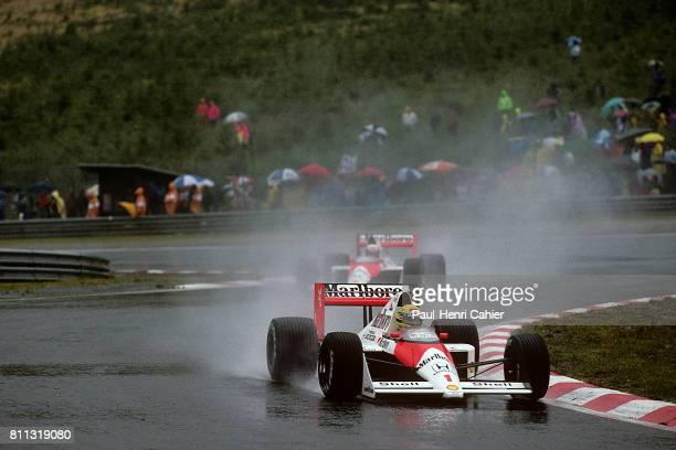 Ayrton Senna Alain Prost McLarenHonda MP4/5 Grand Prix of Belgium SpaFrancorchamps 27 August 1989