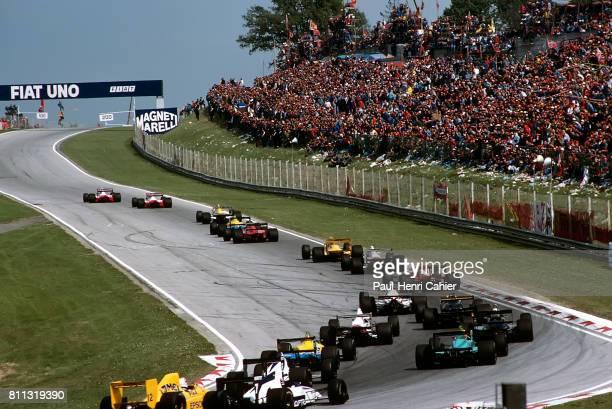 Ayrton Senna, Alain Prost, McLaren-Honda MP4/5, Grand Prix of San Marino, Imola, 23 April 1989. Ayrton Senna leads Alain Prost.