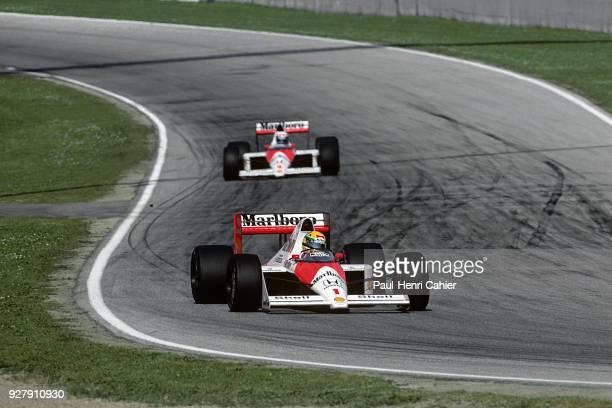 Ayrton Senna, Alain Prost, McLaren-Honda MP4/5, Grand Prix of San Marino, Autodromo Enzo e Dino Ferrari, Imola, 23 April 1989. Ayrton Senna ahead of...