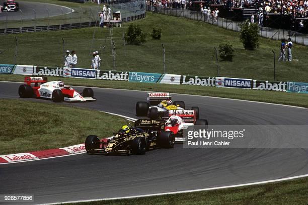 Ayrton Senna, Alain Prost, Nelson Piquet, Nigel Mansell, Lotus-Renault 98T, McLaren-TAG MP4/2C, Williams-Honda FW11, Grand Prix of Hungary,...