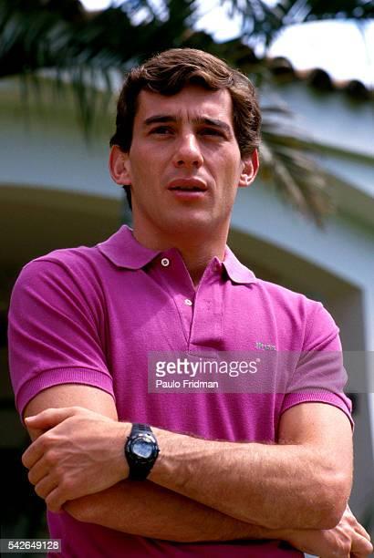 Ayrton Senna at his house in Sao Paulo Brazil