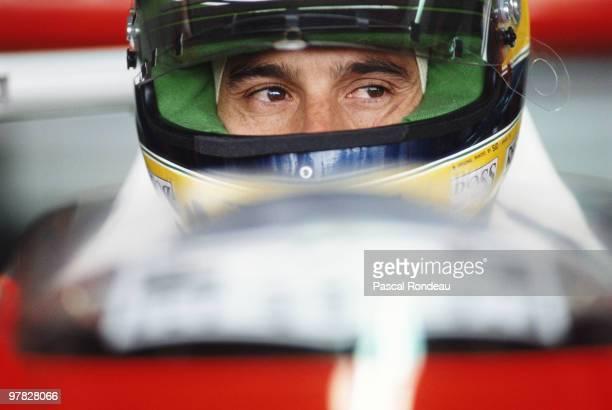 Ayrton Senna driver of the Marlboro McLarenHonda MP4/5B during practice for the Mexican Grand Prix on 23 June 1990 at the Autódromo Hermanos...