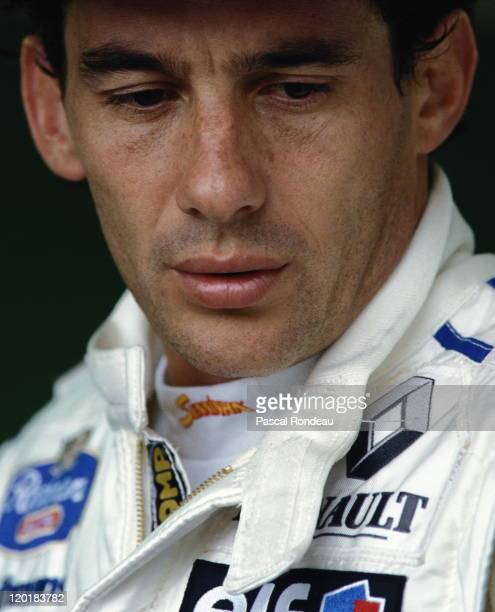 Ayrton Senna driver of the Rothmans Williams Renault Williams FW16 Renault 35 V10 during practice for the Brazilian Grand Prix on 26th March 1994 at...
