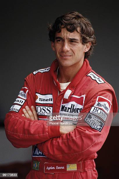 Ayrton Senna driver the Honda Marlboro McLaren MP4/5B during pre season testing in February 1990 at the Autodromo Enzo e Dino Ferrari in Imola, San...