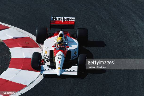 Ayrton Senna drives the Honda Marlboro McLaren MP46 Honda 35 V12 during practice for the French Grand Prix on 6th July 1991at the Circuit de Nevers...