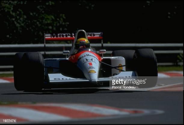 Ayrton Senna drives the Honda Marlboro McLarenHonda MP4/6 during the Belgian Grand Prix on 25th August 1991at the Circuit de SpaFrancorchamps in Spa...