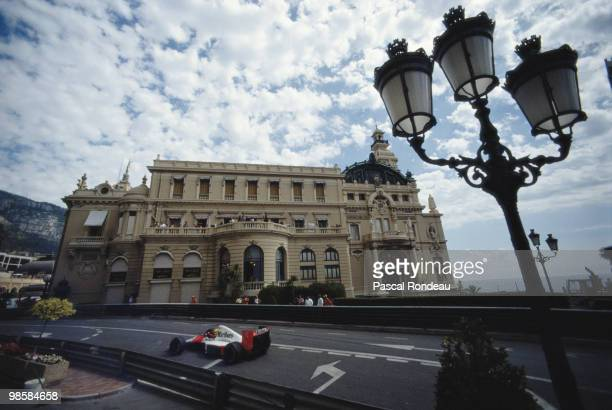 Ayrton Senna drives the Marlboro McLaren Honda MP4/5B during the Grand Prix of Monaco on 27 May 1990 on the streets of the Principality of Monaco in...