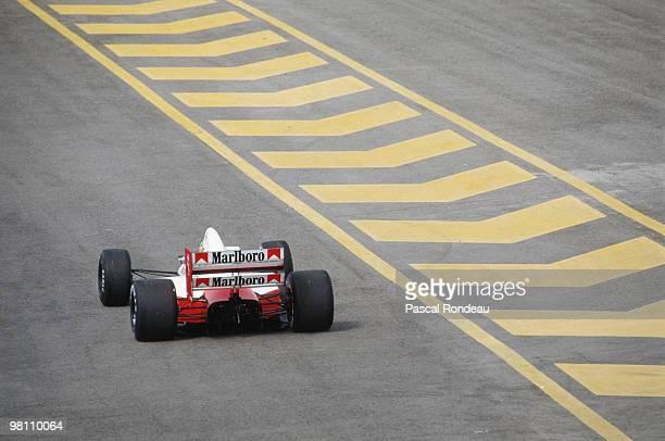 Ayrton Senna drives the Marlboro McLarenHonda MP4/5 during practice for the Spanish Grand Prix on 30 September 1989 at the Circuit Jerez de la...