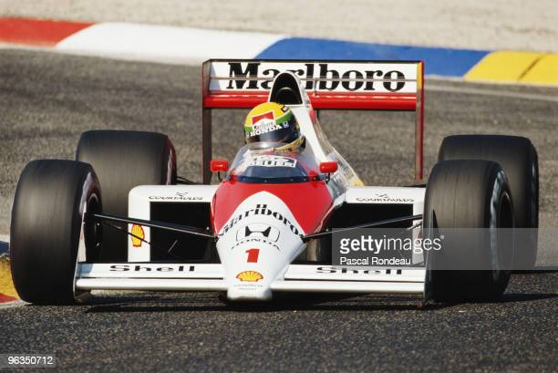 Ayrton Senna drives the McLaren Honda MP4/5 during the French Grand Prix on 9th July 1989 at the Circuit Paul Ricard in Le Castellet, France.