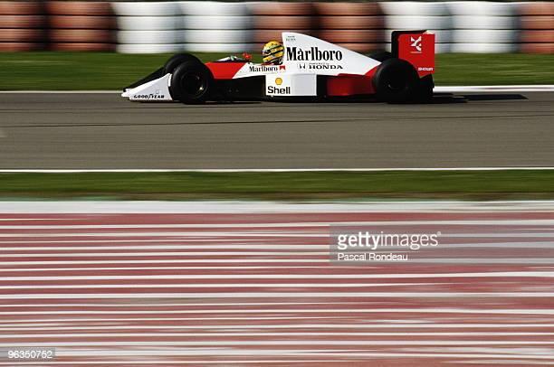 Ayrton Senna drives the McLarenHonda MP4/5B during pre season testing in February 1990 at the Autodromo Enzo e Dino Ferrari in Imola San Marino