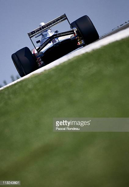 Ayrton Senna drives the Rothmans Williams Renault Williams FW16 Renault 35 V10 during the San Marino Grand Prix on 1st May 1994 at the Autodromo Enzo...
