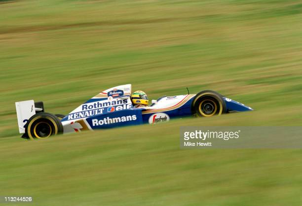 Ayrton Senna drives the Rothmans Williams Renault Williams FW16 Renault 35 V10 during the Brazilian Grand Prix on 27th March 1994 at the Autodromo...