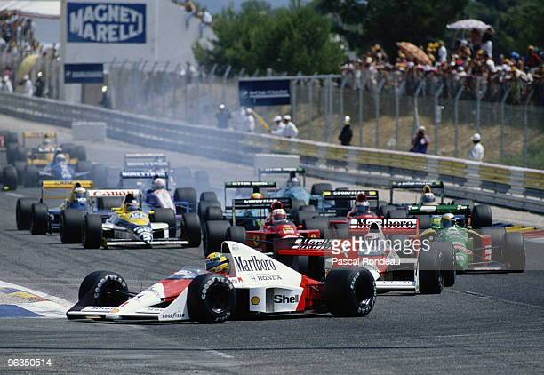 Ayrton Senna driving the McLaren Honda MP4/5 leads the field at the start of the French Grand Prix on 9th July 1989 at the Circuit Paul Ricard in Le...