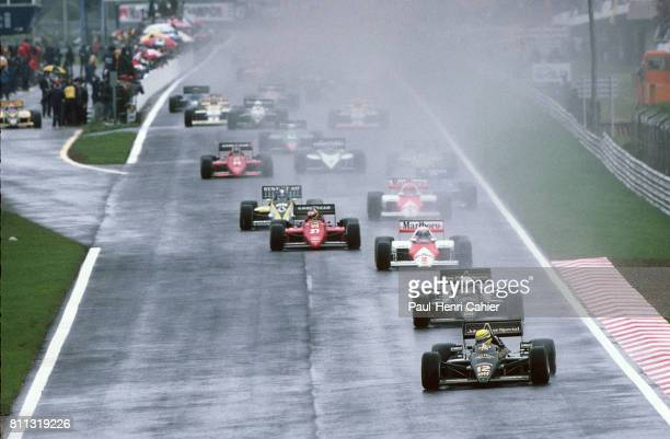 Ayrton Senna, Elio De Angelis, Lotus-Renault 97T, Grand Prix of Portugal, Estoril, 21 April 1985.