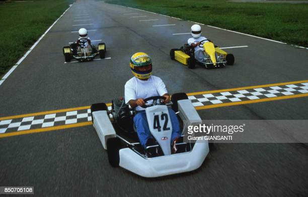 Ayrton Senna fait du kart à Sao Paolo le 15 février 1994,Brésil.