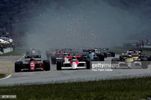 Ayrton Senna, Gerghard Berger, Ricardo Patrese, Grand Prix of Brazil, Jacarepagua, 26 March 1989. Start of the 1989 Brazilian Grand Prix, Ayrton...