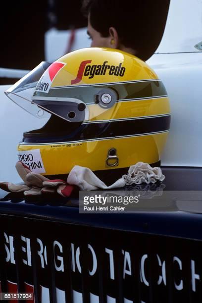 Ayrton Senna Grand Prix of France DijonPrenois 20 May 1984 Ayrton Senna with his helmet on the sidepod of his TolemanHart