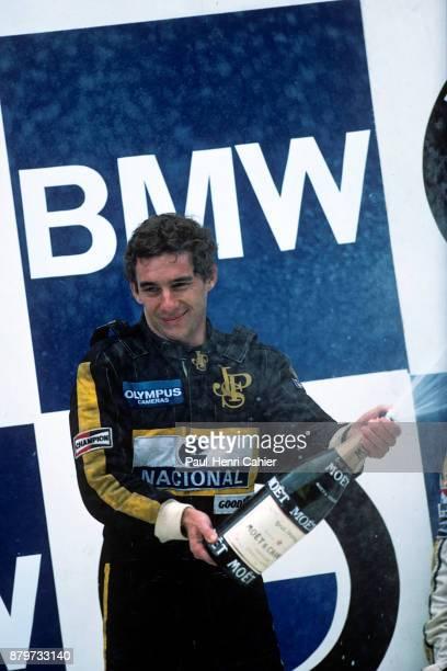 Ayrton Senna, Grand Prix of Portugal, Autodromo do Estoril, 21 April 1985. Ayrton Senna celebrating his first ever Formula One victory in the 1985...