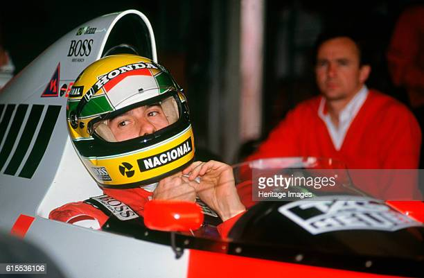 Ayrton Senna in the McLaren MP4-5 at 1989 British Grand Prix, Silverstone. Artist Unknown.