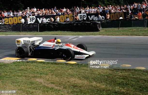 Ayrton Senna in the Toleman TG184 during 1984 British Grand Prix Brands Hatch. Artist Unknown.