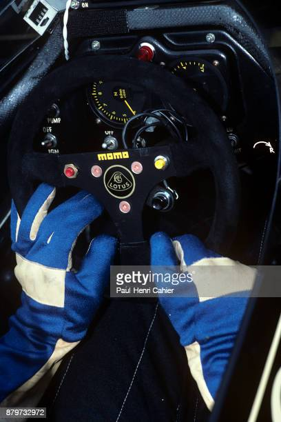 Ayrton Senna LotusRenault 97T Grand Prix of Austria Osterreichring 18 August 1985 Ayrton Senna's gloved hands on the steering wheel of his...