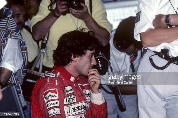 Ayrton Senna McLarenHonda MP4/5B Grand Prix of Japan Suzuka Circuit 21 October 1990 A pensive Ayrton Senna during practice for the 1990 Grand Prix of...