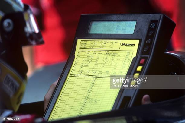 Ayrton Senna McLarenHonda MP4/7A Grand Prix of Italy Autodromo Nazionale Monza 13 September 1992 Ayrton Senna checking data while on the starting...