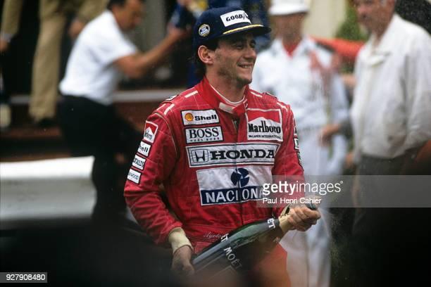 Ayrton Senna, McLaren-Honda MP4/7A, Grand Prix of Monaco, Circuit de Monaco, 31 May 1992. Celebration and champagne for Ayrton Senna after his...