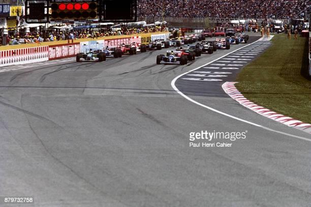 Ayrton Senna Michael Schumacher WilliamsRenault FW16 BenettonFord B194 Grand Prix of San Marino Autodromo Enzo e Dino Ferrari Imola 01 May 1994...