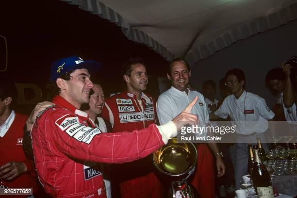 Ayrton Senna Nobuhiro Kawamoto Gerhard Berger Ron Dennis McLarenHonda MP4/6 Grand Prix of Japan Suzuka Circuit 20 October 1991 Ayrton Senna...