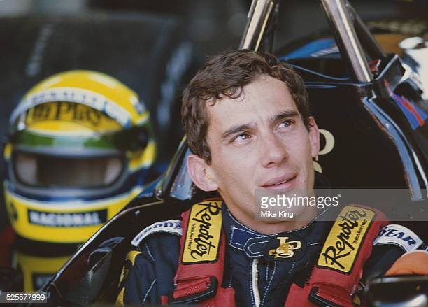 Ayrton Senna of Brazil and driver of the John Player Special Team Lotus Lotus 98T Renault EF15 V6t turbo during practice for the Brazilian Grand Prix...
