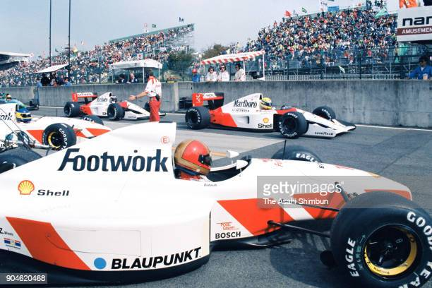 Ayrton Senna of Brazil and McLaren-Honda is seen during the qualifying of the F1 Japanese Grand Prix at Suzuka Circuit on October 19, 1991 in Suzuka,...