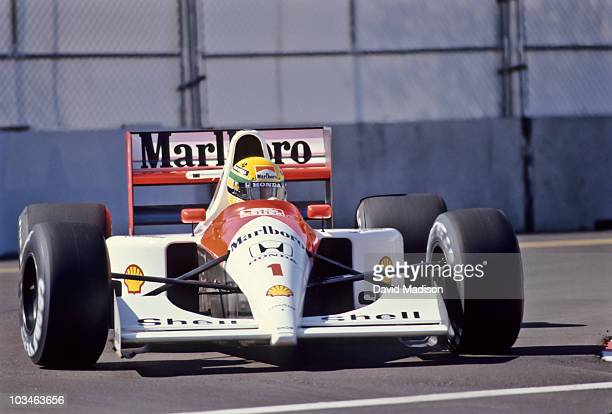 Ayrton Senna of Brazil and the MclarenHonda team competes in the Formula One United States Grand Prix held June 1991 in Phoenix Arizona