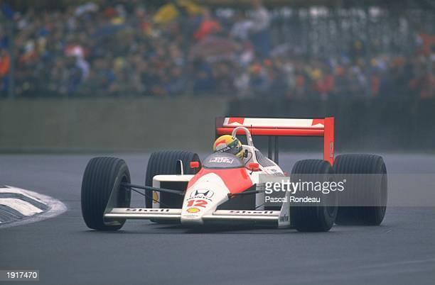 Ayrton Senna of Brazil cuts close to a corner in his McLaren Honda during the British Grand Prix at the Silverstone circuit in England. Senna...