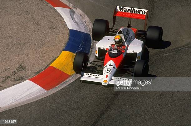 Ayrton Senna of Brazil cuts close to a corner in his McLaren Honda during the French Grand Prix at the Paul Ricard circuit in Le Beausset France...