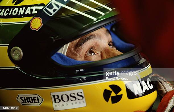 Ayrton Senna of Brazil driver of the Honda Marlboro McLaren McLaren MP4/7A Honda V12 during the British Grand Prix on 12th July 1992 at the...