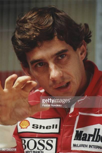 Ayrton Senna of Brazil driver of the Honda Marlboro McLaren McLaren MP4/5B Honda RA109E during testing on 18th July 1990 at the Silverstone Circuit...