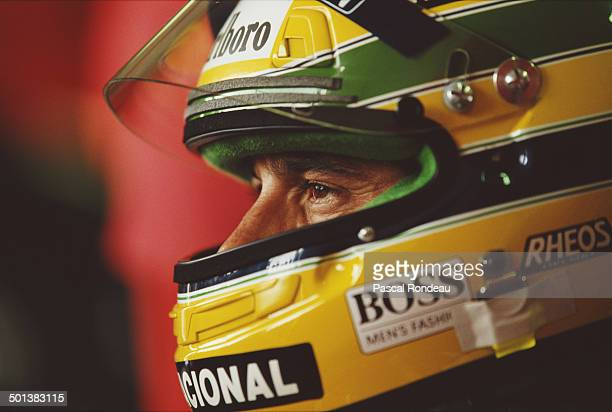 Ayrton Senna of Brazil driver of the Honda Marlboro McLaren McLaren MP4/6 Honda RA121E V10 during practice for the San Marino Grand Prix on 27th...