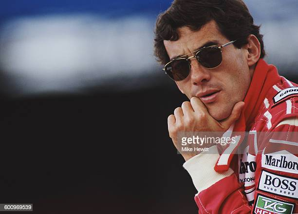 Ayrton Senna of Brazil driver of the Honda Marlboro McLaren McLaren MP4/7A Honda V128 during tyre testing for the British Grand Prix on 7 July 1992...