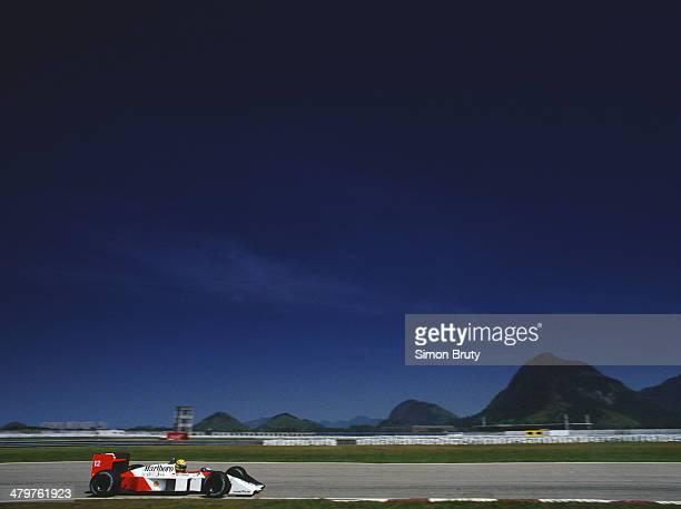 Ayrton Senna of Brazil drives the Honda Marlboro McLaren McLaren MP4/4 Honda RA168E V6 turbo during practice for the Brazilian Grand Prix on 2nd...