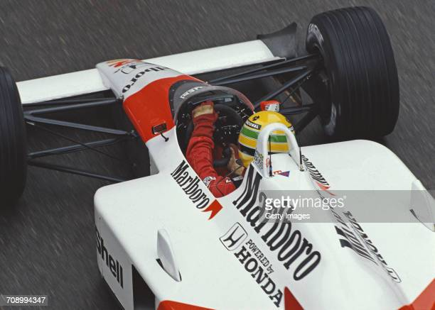 Ayrton Senna of Brazil drives the Honda Marlboro McLaren McLaren MP4/4 Honda RA168E turbo during the Grand Prix of Monaco on 15 May 1988 on the...