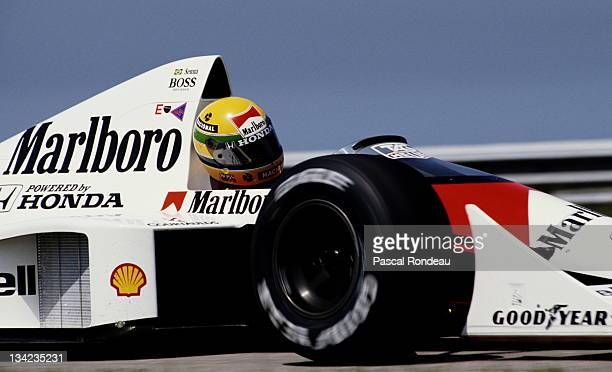 Ayrton Senna of Brazil drives the Honda Marlboro McLaren McLaren MP45 Honda 35 V10 during practice for the Brazilian Grand Prix on 25th March 1989 at...