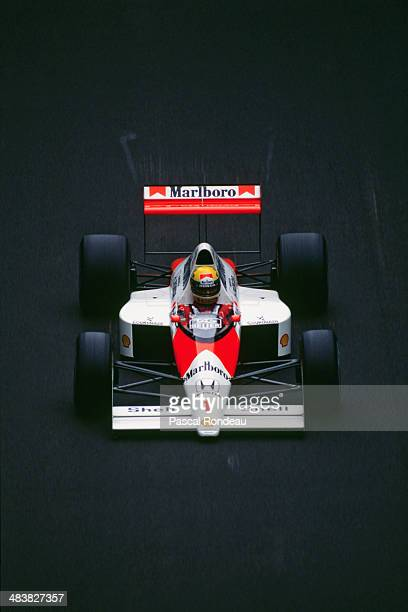 Ayrton Senna of Brazil drives the Honda Marlboro McLaren McLaren MP4/5 Honda RA109A V10 during practice for the Italian Grand Prix on 8th September...